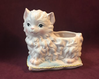 Mid-Century Relpo White Cat on Pillow Planter -  New Condition in Box  -  SEVEN AVAILABLE for discount price