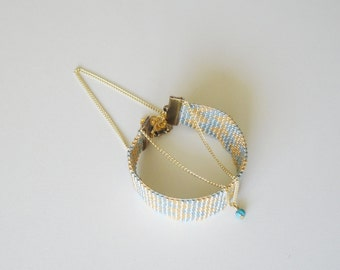 Bracelet woven handmade turquoise and gold very chic