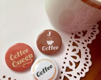 """Cute Coffee Lover Button Pink Pack of 3 / 1.25"""""""