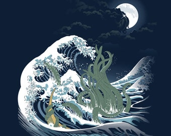 The Wave of R'lyeh T-shirt / H.P. Lovecraft Tee / Cthulhu / The Great Wave off Kanagawa / Hokusai  / Free Shipping worldwide.