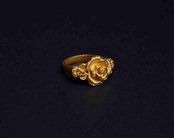 22K Yellow Gold Flower Ring - Rose