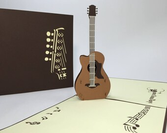 Acoustic Guitar - Pop Up Guitar Birthday Card - 3D Acoustic Instrument Card - Musician Birthday Card - Music Lover Birthday/Get Well Card