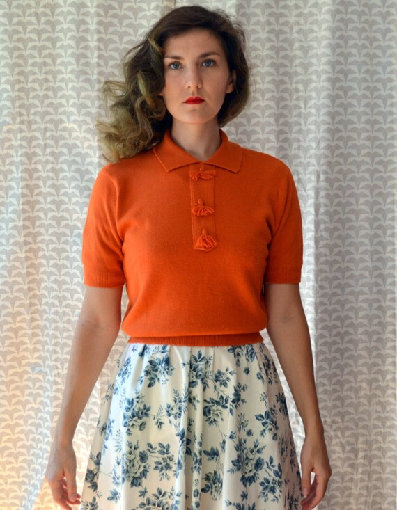 Simply Persimmon Sweater | vintage blood orange 60's collar sweater