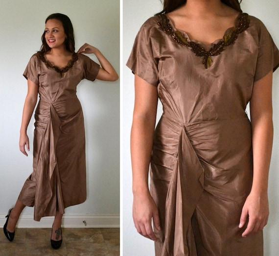 Woodland Waltz Dress | vintage 50's bronze taffeta wiggle dress | beaded leaves
