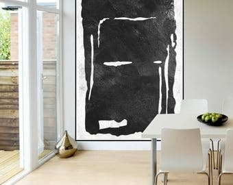 extra large original abstract Painting, Black and White, large painting on canvas, contemporary wall art, large Abstract art
