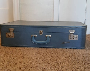 Vintage Monarch Blue Square Suitcase