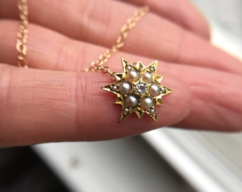 Starburst Diamond and Seed Pearl 14k Necklace