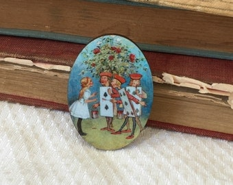Alice in Wonderland brooch, Alice pin, Playing Card Brooch, Wooden pin, Alice pin, Tea Party Pin, Mad TEa Party, Birthday Gift