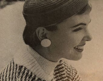 Vintage Crochet Hat Kit, Pattern and Yarn Included.