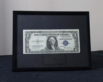 Silver Certificate Dollar Framed Black on Black Series 1935E Sitting Behind Glass