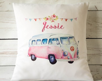 """Personalised campervan ~ 16"""" white cushion/pillow cover vintage shabby chic nursery"""