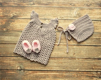 Baby Girl Set- Newborn Baby Dress Set- Baby Bonnet- Coming Home Outfit- Baby Shower Gift- Crochet Baby Dress- Crochet Baby Shoes