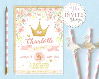 Girls Princess Crown Invite | Birthday Party Invitation | Woodland Forest Flowers | Digital Download Customised Personalised | Printable
