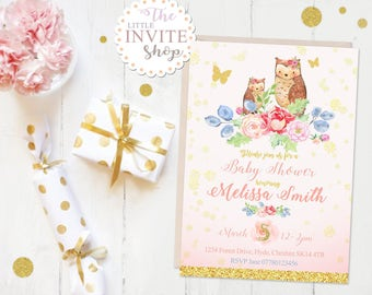 Girls Baby Shower Invite | Personalised Digital Download Printable Party Invitation | Woodland Animals Forest Owl | New Mum to Be, New Baby.