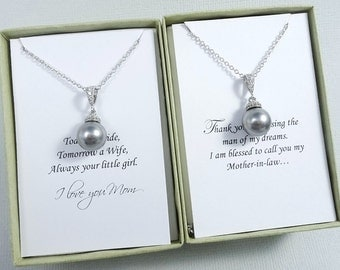 Swarovski Grey Pearl Necklace, Mother of the Bride Gift Necklace, Mother of the Groom Gift, Gifts for Moms, Grey Pearl Wedding Jewelry