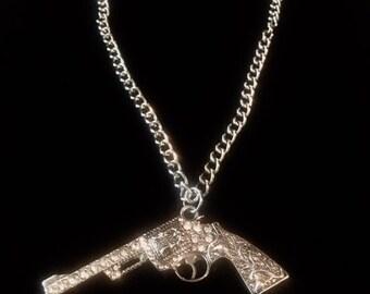 Rhinestone Gun Necklace