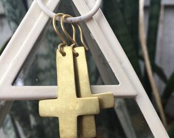 Brass Upside down Cross Earrings Inverted Bangin Jewelry