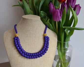 Purple statement necklace- Rope necklace- Knot Necklace- Chunky necklace- Nautical necklace- Bib necklace- Rope jewelry- Christmas gift