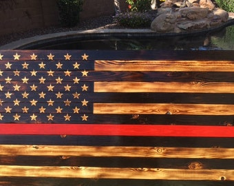 Thin Red Line Charred American Flag