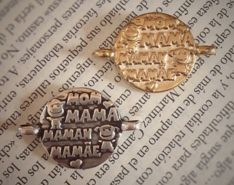 Mom Zamak Connector, Mama Connector, Bracelet Connector, Silver & Gold, DIY Jewelry  || 2,5 cms X 3,5 cms / 0,98'' X 1,37'' ||