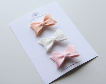 Set of 3 Wool Felt Bow Hair Clips - Apricot, White, Vintage Pink - Baby Bow - Hair Clip