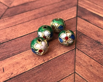 Qty4 10mm Handmade Cloisonne Beads, Dark Green With White Flowers, Floral Beads, Enamel
