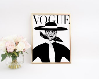 PARIS FASHION Vogue Cover Fashion Decor High Fashion Girls Room Decor Vogue Poster Vogue Print Fashionista Fashion Poster Vogue art