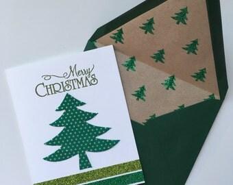 Christmas Card - Green with Small Gold Polka Dots Tree
