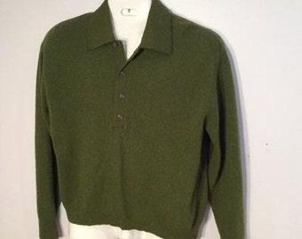 men's long sleeve green sweater vintage 1960's