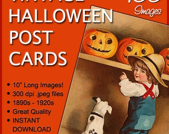 """100 LARGE Vintage Halloween Postcards/10"""" Long or Wide/1890s to 1920s/Restored to Like New!/Tags: clipart clip art paper pumpkin witch ghost"""