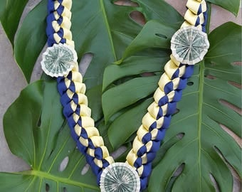 RIBBON and MONEY LEI - Navy & Gold