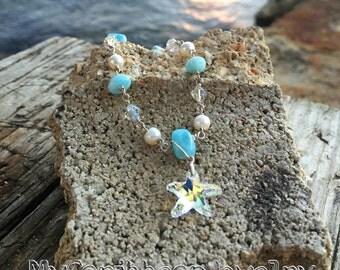 Starfish & Larimar Bracelet with Swarovski and Freshwater Pearls