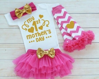 My 1st Mothers Day Outfit, Mother's Day Girl, Baby Girl Mother's Day Shirt, Mother's Day Gift, Mothers Day Baby Bodysuit, Mother's Day 2017