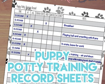 Printable Puppy Potty Training Record! Instant Download, 8.5x11 PDF, Puppy Activity Record, Potty Training Diary, How to Potty Train A Puppy
