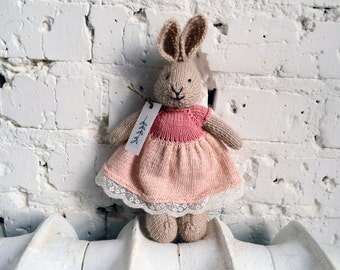 "Knitted rabbit ""Musk Rose"""