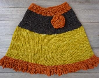 1990s Handmade Rosette Knit Poncho- Size 5-7