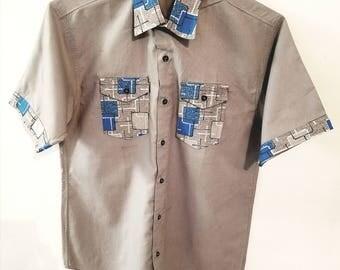 Ankara shirt for men. Ankara short sleeves shirt for men. African print shirt for men.