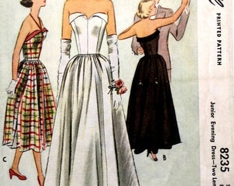"""Vintage 1950's Sewing Pattern Fitted Bodice Strapless Evening Wedding Dress B 28"""""""