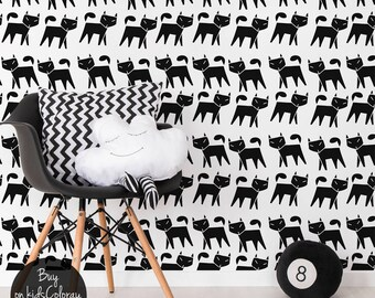Geometric cats wallpaper, Black and white wall mural for kids room, Simple and minimalistic wall decal #101