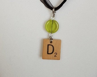 """Wire Wrapped Scrabble Tile Initial """"D"""" Necklace Jewelry for Women Free Shipping Jewelry Monogram Necklace"""