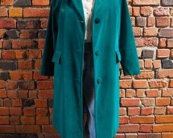 Women's 60s 70s Green Velvet Coat Jacket Long Blazer Size Small