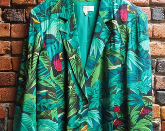 Women's 90s Green Tropical Leaf Print Blazer Jacket With Parrot Print Size Large