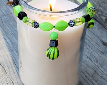 Decorative Candle Accessory/ Candle Bling/ Candle Ring/ Home Decor/ Green/ Black
