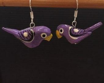 Retro purple bird earrings