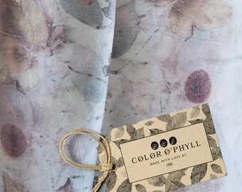 COLOR O'PHYLL ----- Eco-Print -Coloured with Leaves, Hand-Made, 100% Silk Scarf. Perfect Mother's Day Gift.