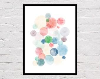 Watercolor Circles Print, Abstract Circles, Watercolor Wall Art, Geometric Printable, Watercolour, Scandinavian Art, Digital Download