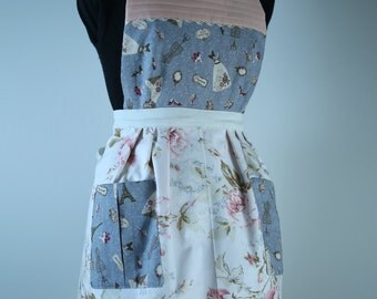 Handmade Vintage Inspired Apron Fully Lined (reversible) with Pockets - Paris Print/Apricot Pink Floral
