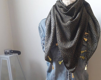 Flower Triangle Scarf // Women Scarf, Triangle Scarf, Spring fashion,satin scarf, gift for mom