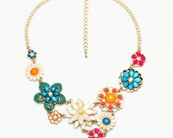 Chunky Colorful Flower Bib Statement Necklace