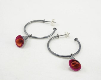 Fabric Flowers Small Silver Hoops, hoop earrings, sterling silver 925, contemporary jewelry, handmade, gift for her